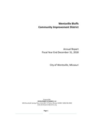 thumbnail of Wentzville Bluffs CID Annual Report 2018